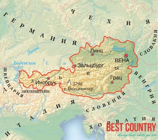 Географическое положение Австрии